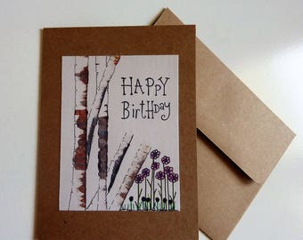 Happy Birthday, hand made card, hand painted card, birch trees, rustic, ink and watercolor, miniature painting, cute card, blank card, art