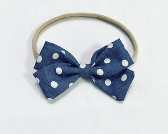 Spot denim signature bow headband by charley melbourne