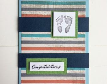 Baby shower card, Baby shower, Baby shower gift, Baby boy, Blank card, Baptism card,  Congratulations, Baby feet, Gift idea, Baby feet stamp