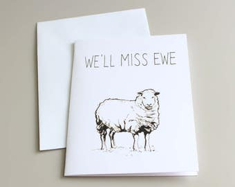 Going Away Card, Farewell Card, Sheep Card, Farm Card, Sheep Illustration, Farewell Sheep