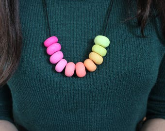 Rainbow gradient polymer clay necklace