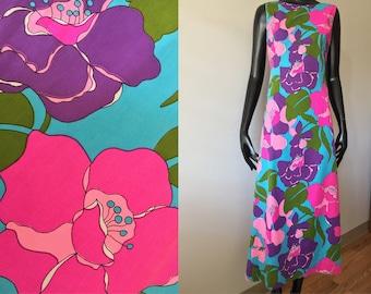 Vintage Hawaiian Keone Mod 60s 70s Multi Floral Maxi Dress