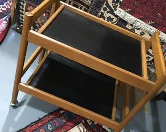 Black and Wood Bar Cart Vintage Mid Century Modern