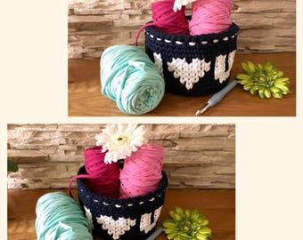 Dark Blue and White Storage Basket Crochet