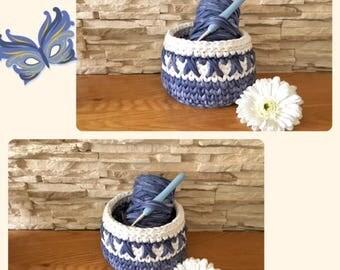 Blue and White Storage Basket Crochet