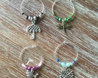 Gilmore girls inspired wine glass charms- set of 4