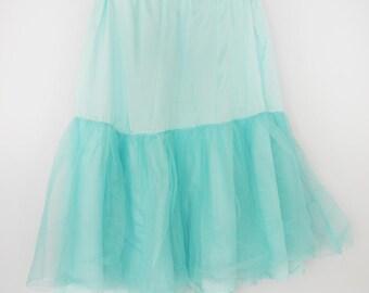 Vintage 1960s turquooise petticoat rok met elastische taille