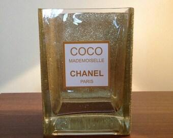 Chanel inspired gold glitter vase