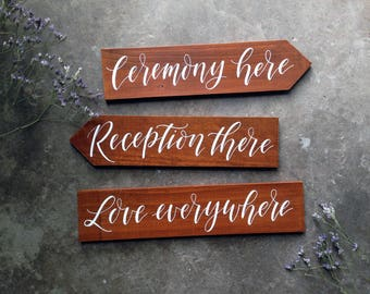 Wedding Ceremony Reception Signs. Directional Sign. Cute Wedding Decor. Vintage Outdoor Wedding Signs. Rustic Wedding Signage.
