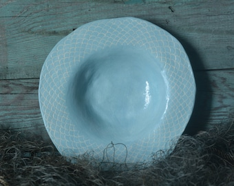 Small Ceramic Fish Scales Plate Turquoise