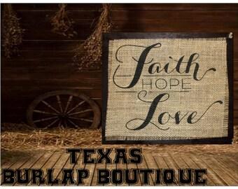 Faith hope LOVE Burlap Country Music Vintage Wedding Wood Sign
