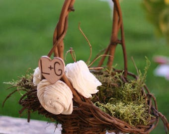 Personalized Woodland Rustic Twig Flower Girl Basket With Engraved Wood Heart And Vintage Inspired Paper Roses Moss Lining