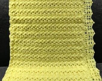 "Crochet Baby Blanket - Yellow 33"" x 40"""