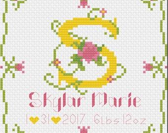 Birth Announcement Floral Letter Cross Stitch 5x5 - Digital Download Pattern