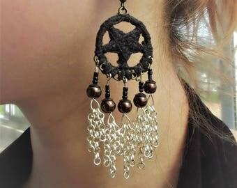 Pentagram crochet earrings
