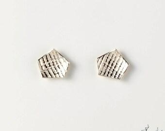 """Earrings in Sterling Silver """"Traces BO2"""" diameter 12 mm - by IrisBiu. Jewelry handmade in France."""