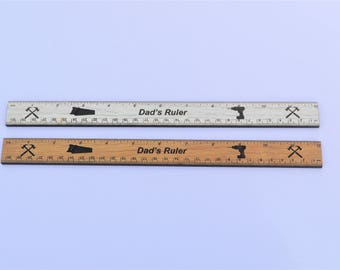 Dad's Ruler Personalised Laminate Wood Birthday Gift Present Tools Stationary