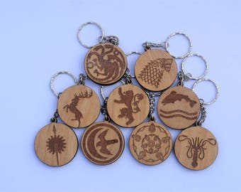 Game of Thrones House Wooden Keyrings Stark Targaryen Lannister Baratheon Tully Martell Arryn Tyrell Greyjoy