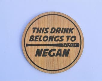 Negan's Drink - The Walking Dead Coaster Lucille Zombie Walkers Christmas