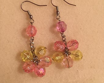 Pink and yellow beads, beautiful dangle spring colored earrings