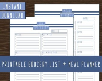 Meal Planner and Grocery List I Weekly Meal Planning I Instant download