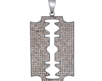 92.5 sterling silver diamond danger blade men pendant silver diamond blade shape pendant unisex pendant jewelry