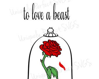 Beauty and the beast rose sillhouette cutting file svg png
