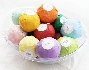 Pick 12 Bath Bombs, Organic Ingredients, Essential Oils, Bath Bomb Set, Freshly Made, Natural Bath Fizzies, Gift for Her