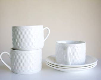 White Basket Weave Mugs and Saucers - Set of 3