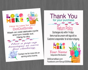 Thank You/Care Card with flowers,Return Policy, Customized, Printable with flowers and Double Sided, Download DotDotSmile
