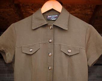 1990's Maxi Shirt Dress • Shirt Dress • Maxi • Military • Olive • Brown • Green • Collard Dress • Button Up • 90s Shirt Dress