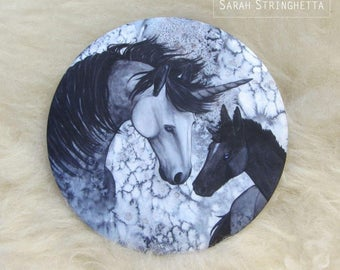 Pocket mirror with Unicorn and foal - Dapple grey - satin pouch