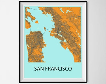 San Francisco Map Poster Print - Orange and Blue