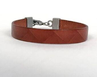 "113-X3 ""Geometric Brown Leather Bracelet"""