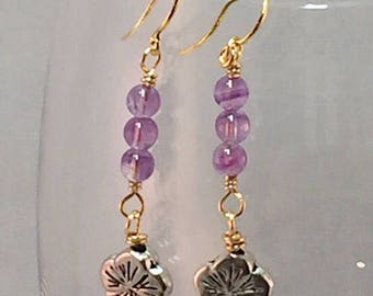 Gold filled amethyst earrings with silver  pewter flowers