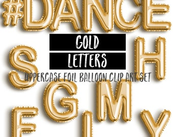 Gold Foil Balloons Bundle Clip Art | Uppercase/Lowercase/Numbers Gold Letter Balloons | Mylar Letters Clipart | Commercial & Personal Use