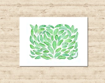 Green Leaves Watercolour Painting Postcard Poster Art Print Q120