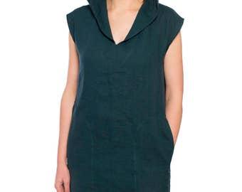 Linen hoodie dress/ Hooded linen tunic/ Linen summer tunic/ Linen dress/Linen womens clothing