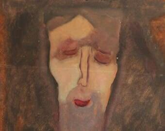 Expressionist portrait gouache painting