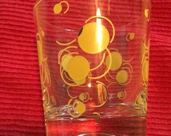 Vintage Yellow Polka Dot Drinking Glass
