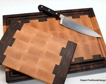 End Grain Cutting Board Set - Walnut and Maple Cutting Board Set - Cheese Board and Cutting Board Set - Wedding Gift