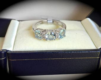 Aquamarine Ring Premium Quality Sterling Silver Size L 'CERTIFIED 1.35ct' Fab Colour!