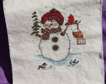Snow man complete cross stitch