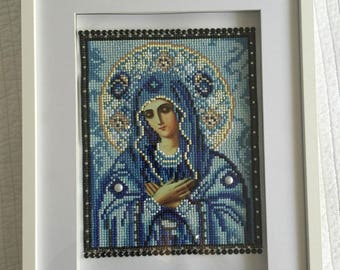 3D diamante crystal portrait of mother Mary, saint Mary with pearls