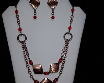 Bright copper and red necklae and earring set