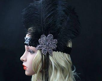 Black Ostrich Feather Headband Flapper 1920s Great Gatsby Headdress Headpiece Party