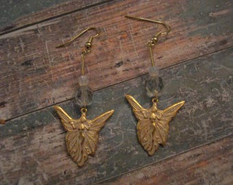 Antiqued Gold Fairy Earrings
