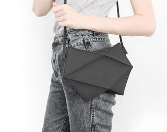 Geometric black bag, PU vegan Crossbody bag, minimal fashion bag,