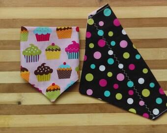 Reversible Pet Bandana w Cupcakes & Colorful Polka Dots in Brown Backside, Through Collar