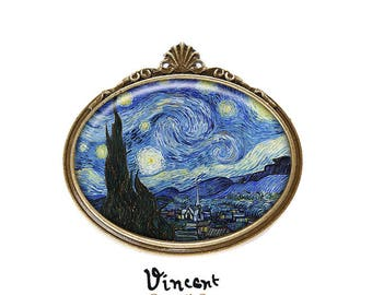PIN * starry night * Vincent Van Gogh blue cabochon glass bronze night